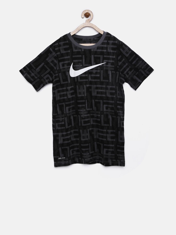 db7044daa Nike Boys Black & Grey Printed B NK DRY TEE SS ELITE Round Neck T-shirt