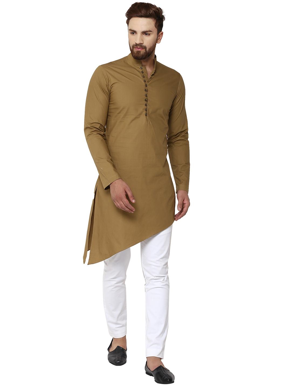 e93c7bf55614 Buy See Designs Men Khaki Solid Kurta With Pyjamas - Kurta Sets for ...