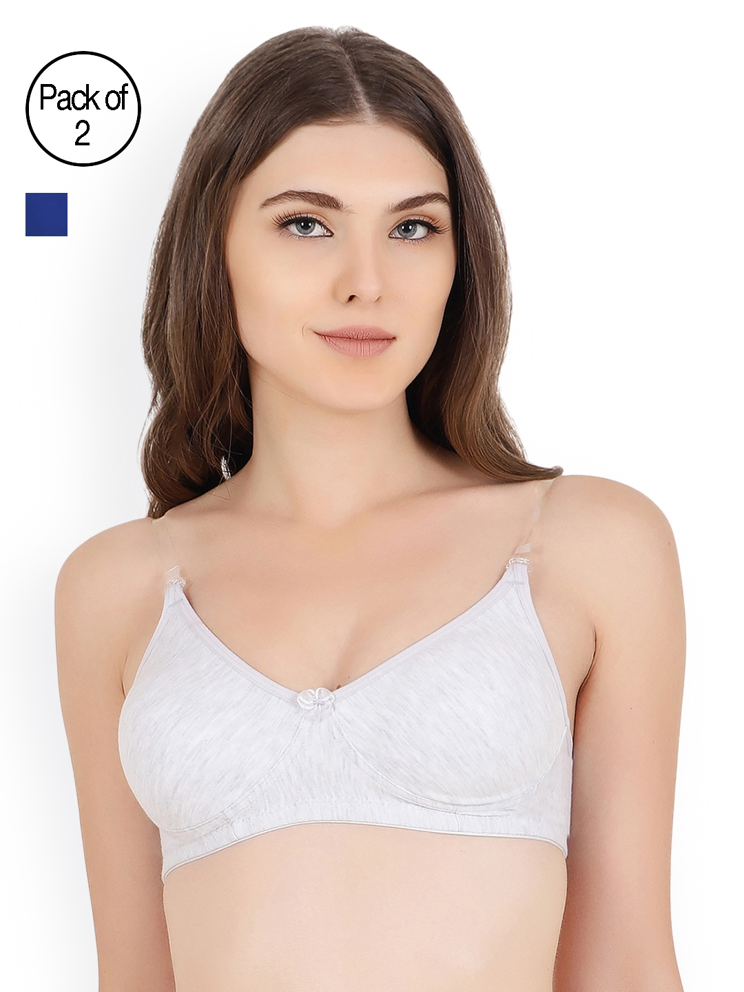 37fcf8fa7 Floret Pack Of Two Solid Non-Wired Non Padded T-shirt Bra Daina Blue-Cool  Grey 40B
