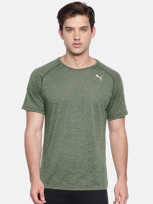 6858b5430b0 Buy Puma Men Olive Green Solid Energy Ess Round Neck T Shirt ...
