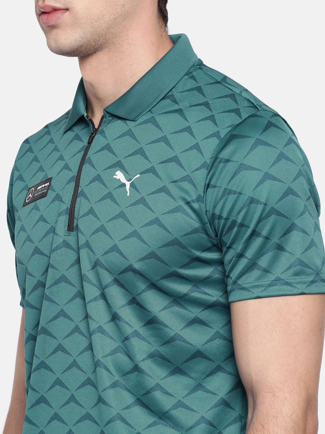 Buy Puma Men Teal Blue Printed Mercedes Amg Petronas Evo Polo T