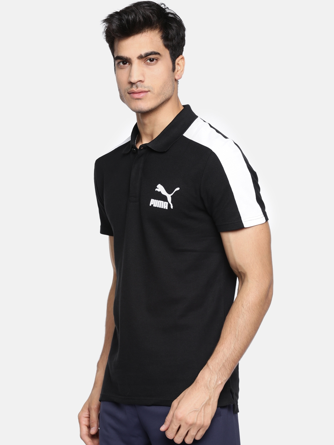 0aef2169a94 Buy Puma Men Black Solid Archive T7 Polo Slim Fit T Shirt - Tshirts ...
