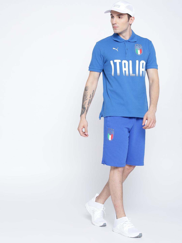 2d9b8896da1 Buy Puma Blue FIGC Italia Fanwear Polo Printed Football T Shirt ...