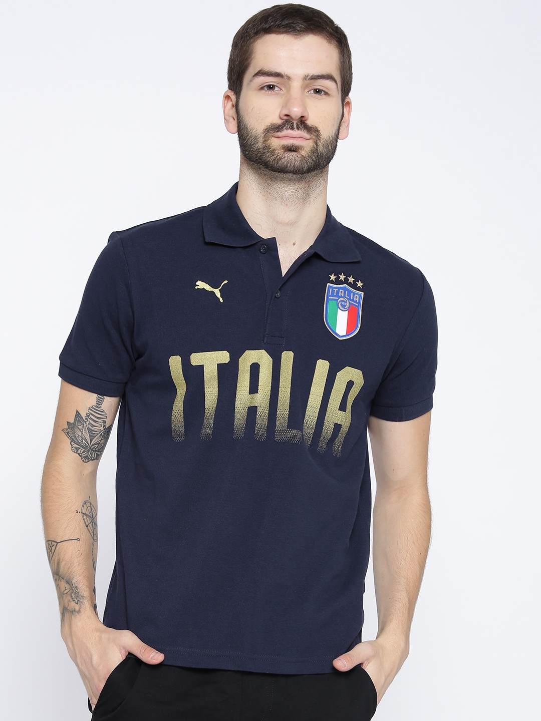 fd8921bee843 Buy Puma Navy FIGC Italia Fanwear Polo Printed Football T Shirt ...