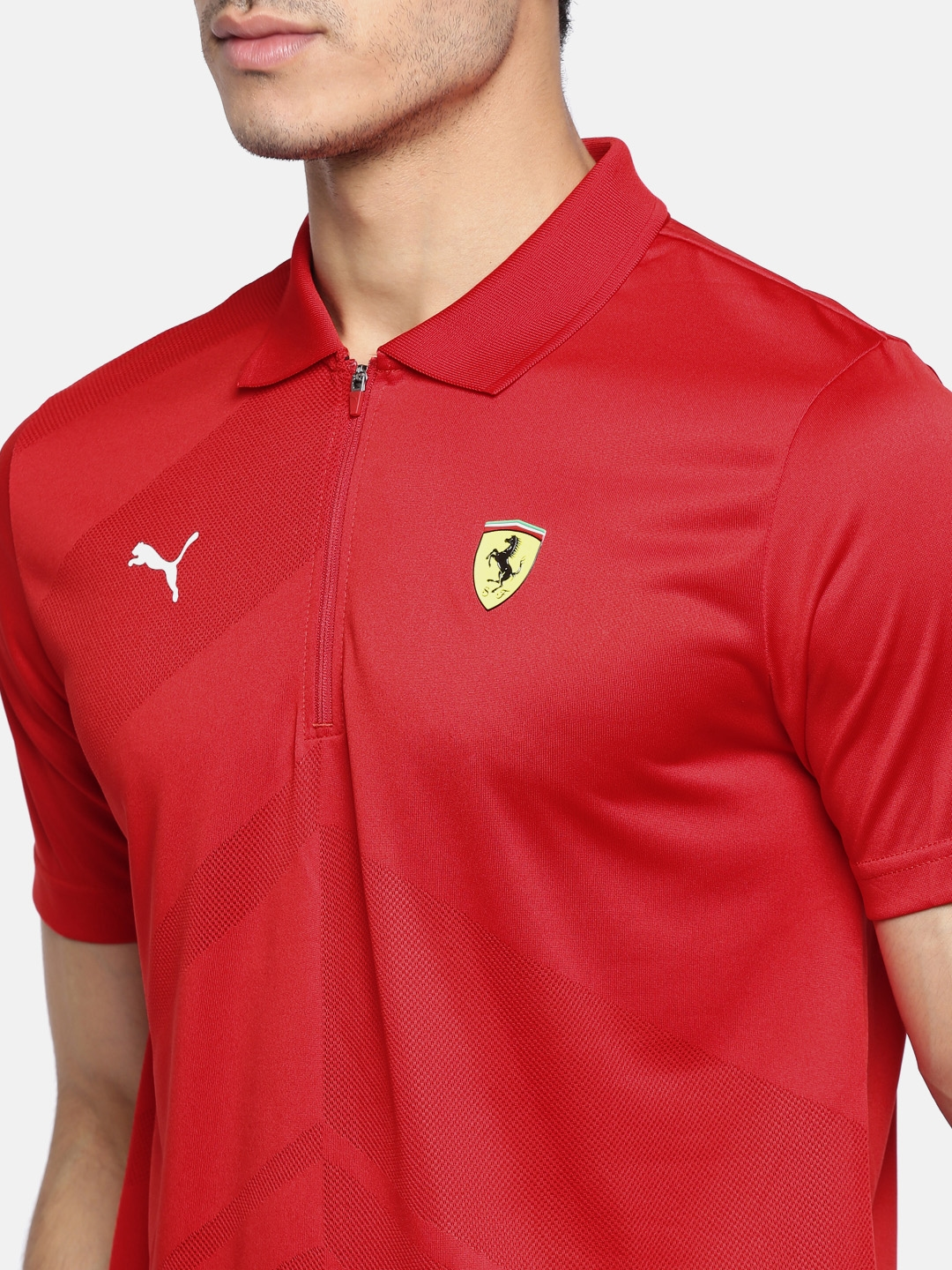 Buy Puma Men Red Self Design Scuderia Ferrari EVO Polo T Shirt ... 67235ca5b