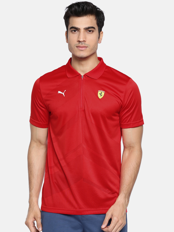 29a0bd3c Buy Puma Men Red Self Design Scuderia Ferrari EVO Polo T Shirt ...