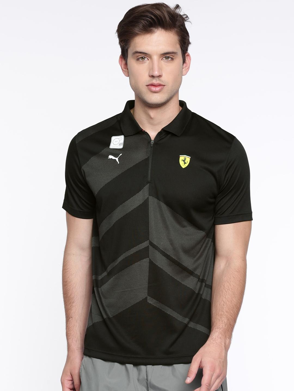 34418a44 Buy Puma Men Black Self Design Scuderia Ferrari EVO Polo T Shirt ...