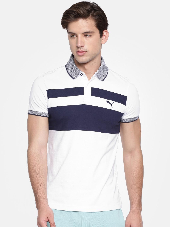 fd9d7b3ca Buy Puma Men White   Navy Slim Fit India Chest Stripe Print Polo T ...