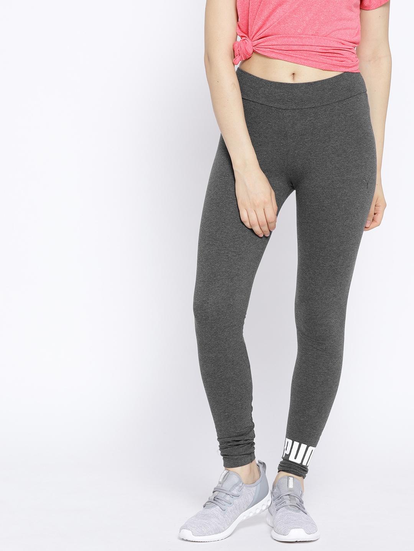 bba6c5506c Buy Puma Women Charcoal Grey Solid ESS Logo Leggings Tights - Tights ...