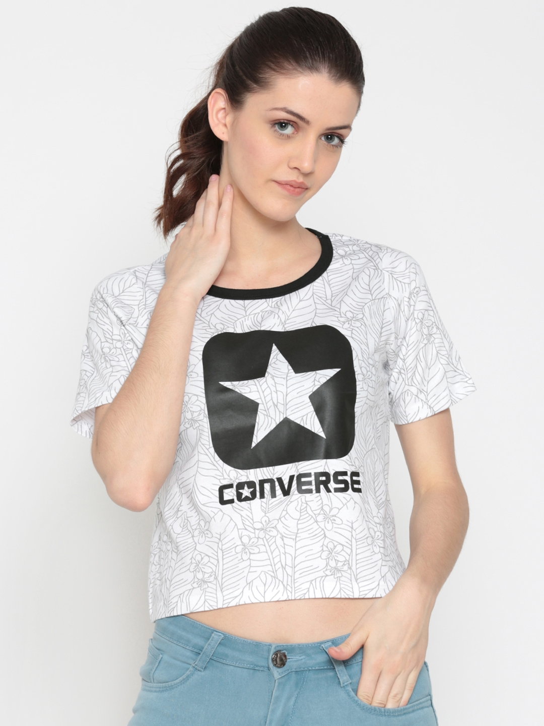 e31431f9b51d Buy Converse Women White Printed Round Neck Cropped T Shirt ...