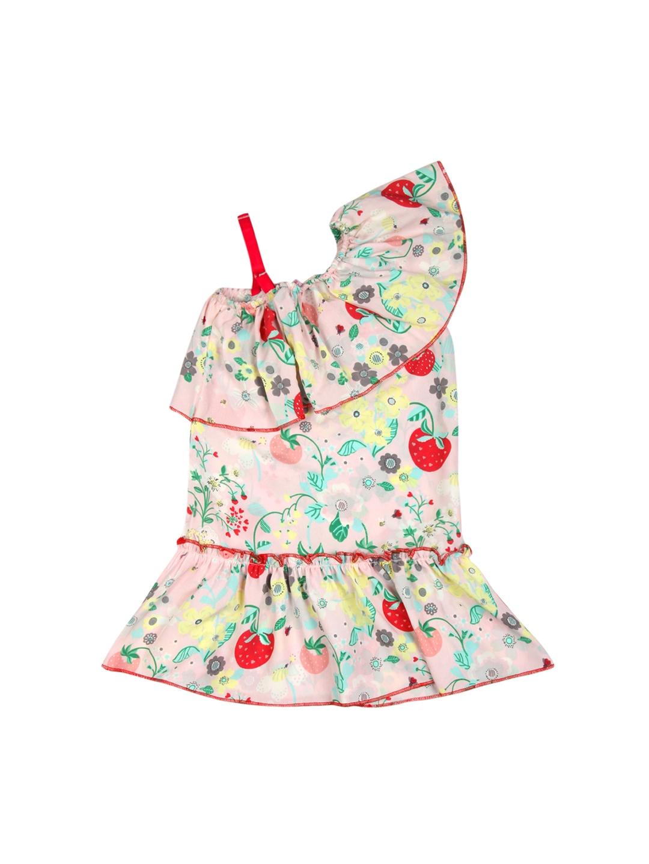 f70a72c9ea4bf Buy Kids On Board Girls Peach Coloured Printed A Line Dress ...