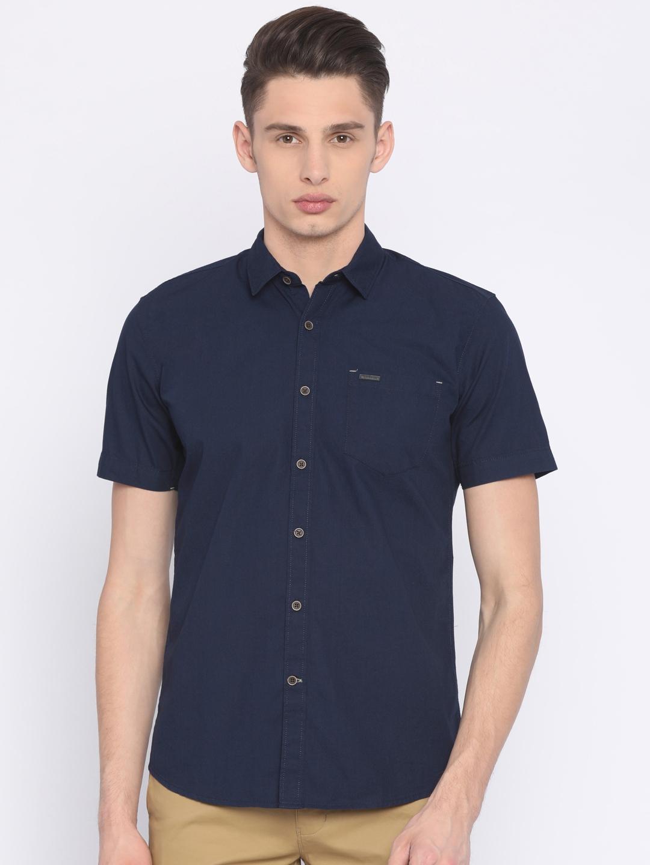 dfb1c825951 Buy Wrangler Men Navy Regular Fit Solid Casual Shirt - Shirts for ...