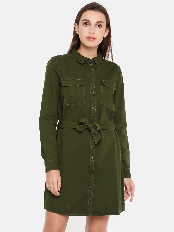 a21d328758d5 Buy ONLY Women Olive Green Solid Denim Shirt Dress - Dresses for ...