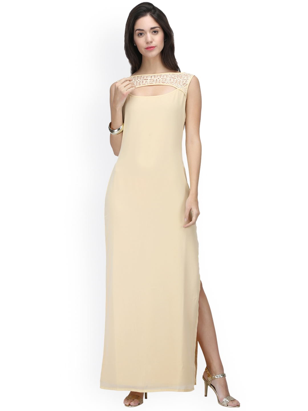 ae297a6afe63 Buy Eavan Women Cream Coloured Solid Maxi Dress With Embroidery ...