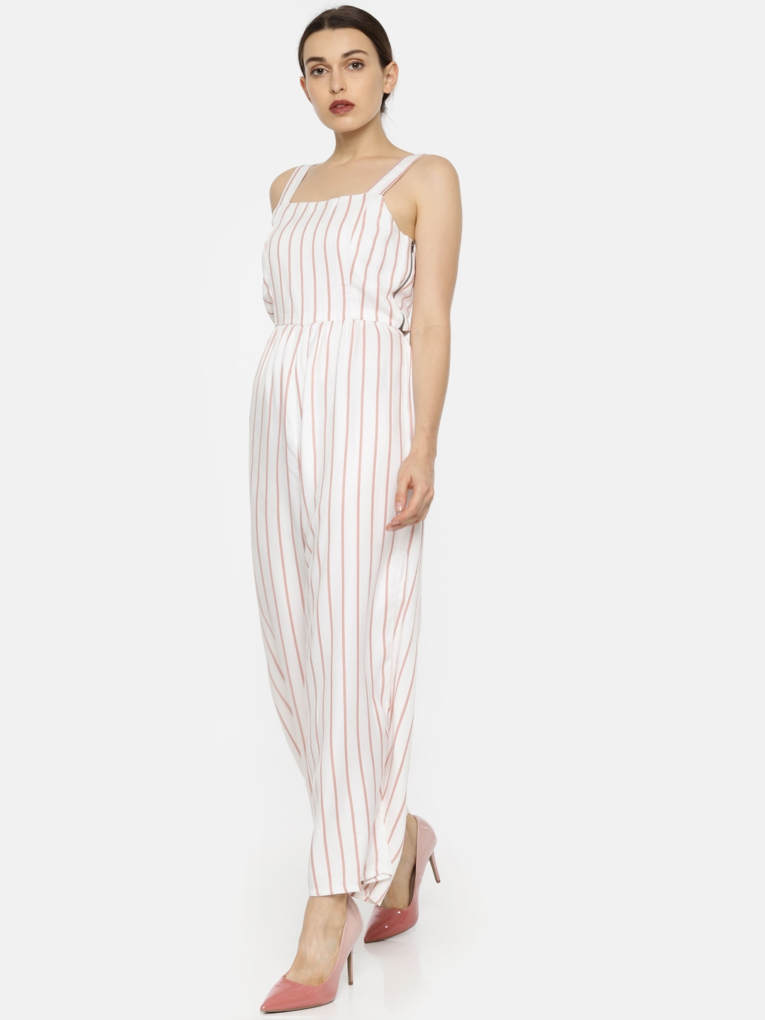 ad1536ba856 Buy Vero Moda White   Pink Striped Basic Jumpsuit - Jumpsuit for ...