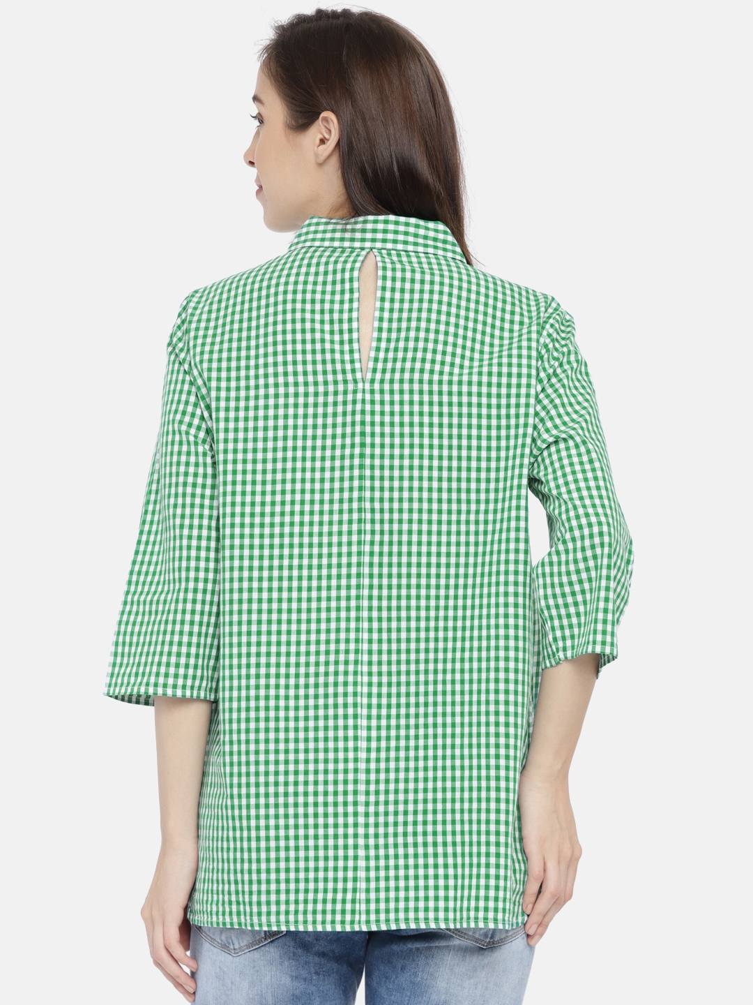 41fcad4ca8 Buy ONLY Women Green   White Regular Fit Checked Casual Shirt ...