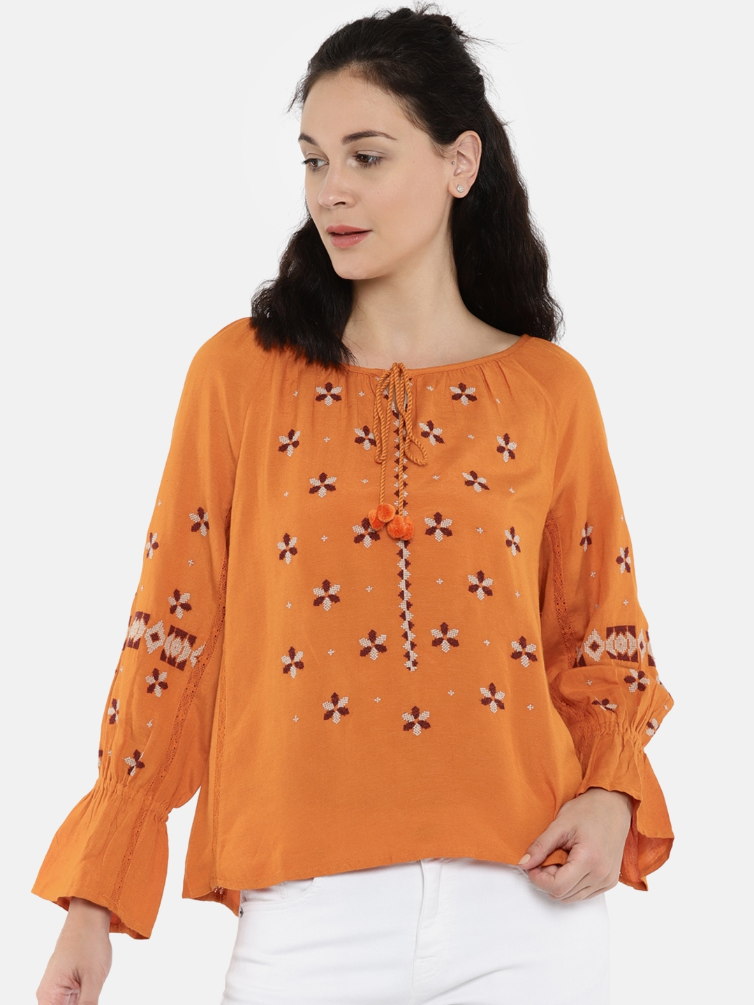 ffb23ad90a2672 Buy ONLY Women Orange Self Design Top - Tops for Women 2492593
