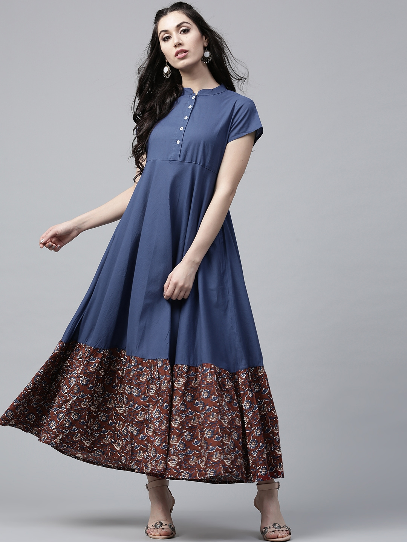 0b47239a1d1 Buy AKS Women Navy   Maroon Printed Maxi Dress - Dresses for Women ...