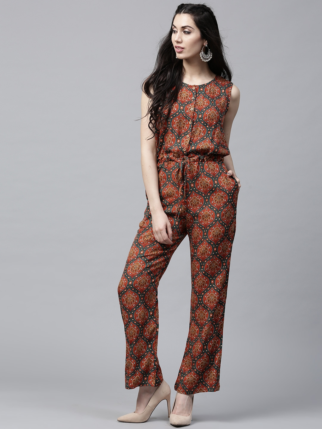 ccb7b8911276 Buy AKS Rust Orange   Teal Green Printed Jumpsuit - Jumpsuit for Women  2493364