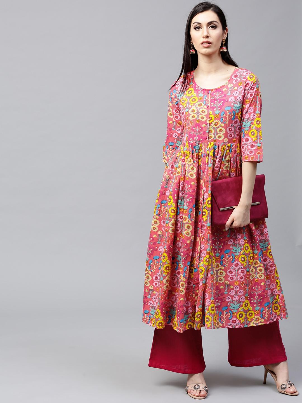 f07cbb531 Buy AKS Women Pink   Yellow Floral Print A Line Kurta - Kurtas for ...