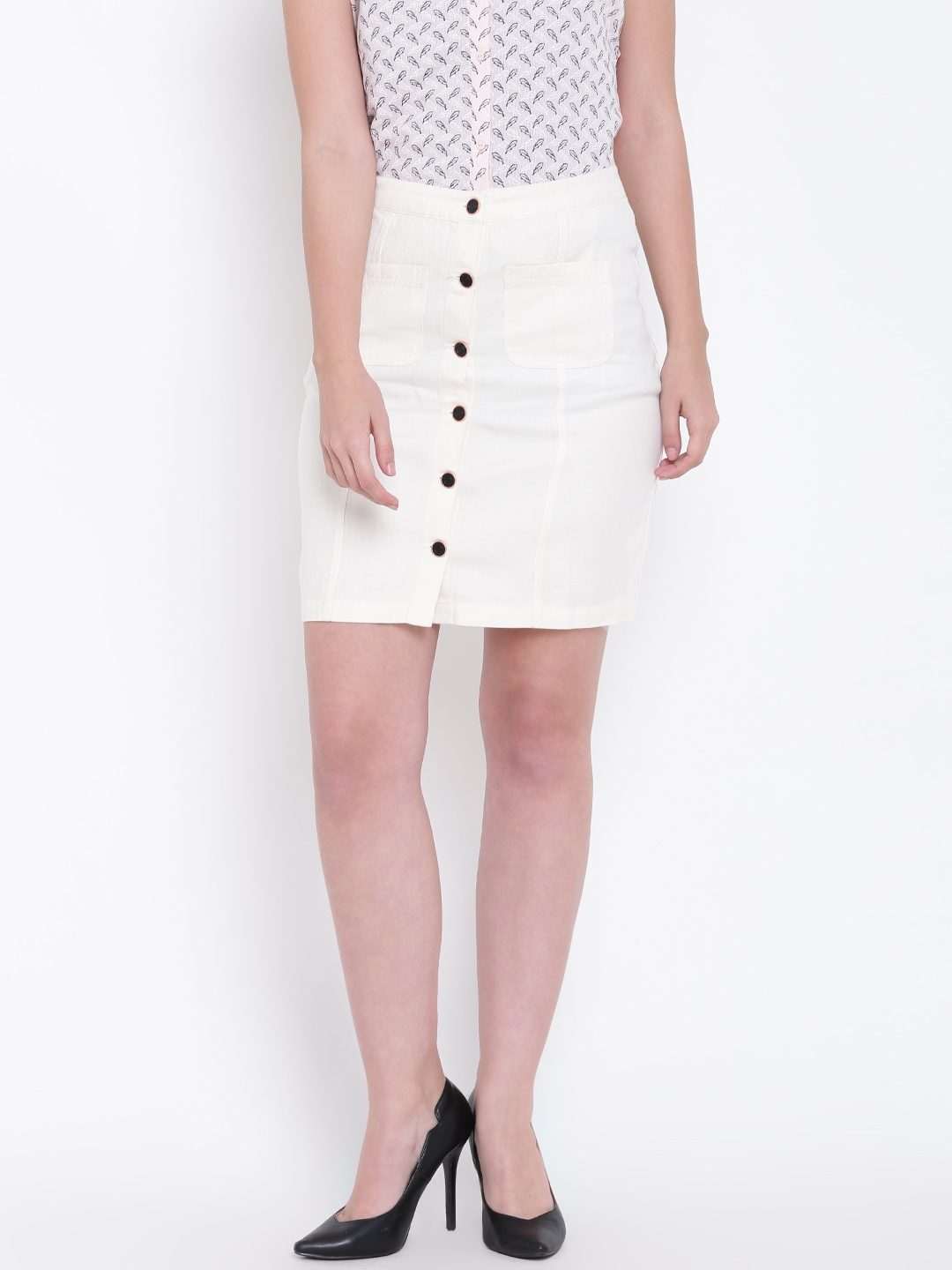 9159b3d7b Buy Madame Off White Pencil Skirt - Skirts for Women 2495225 | Myntra