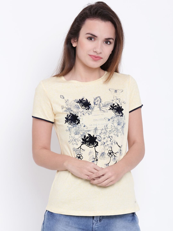 d148a301e Buy Madame Women Yellow   Black Printed Round Neck T Shirt - Tshirts ...