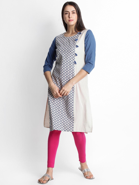 1b14752043b RANGMANCH BY PANTALOONS Women Beige   Blue Printed A-Line Handloom Kurta