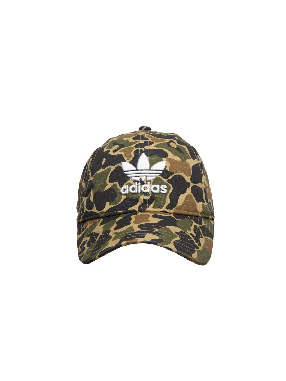 Adidas Originals Unisex Beige   Olive Green Camouflage Print Baseball Cap ba79058ed19