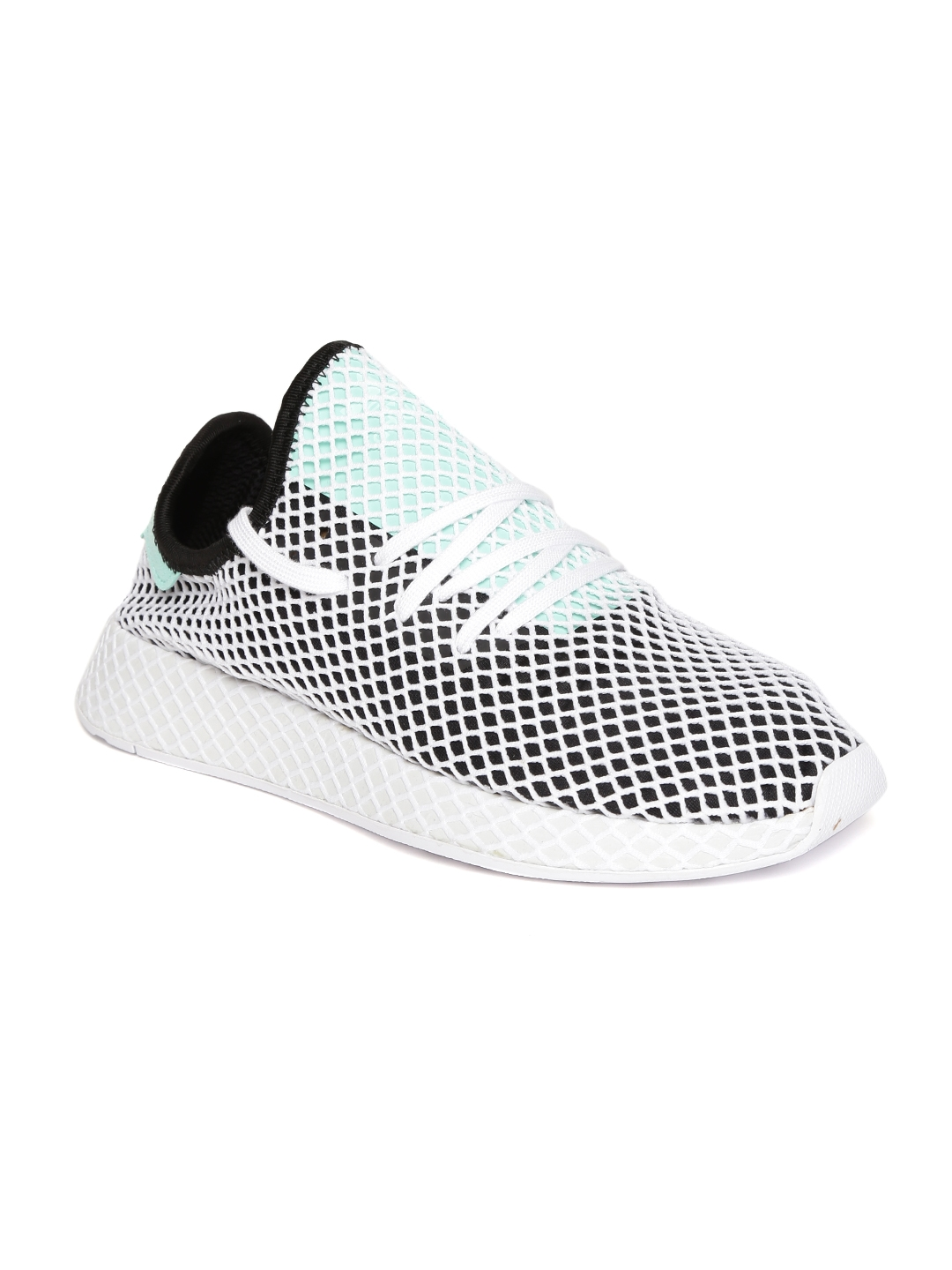 ADIDAS Originals Men White   Black Deerupt Runner Patterned Sneakers 8b4b1c569