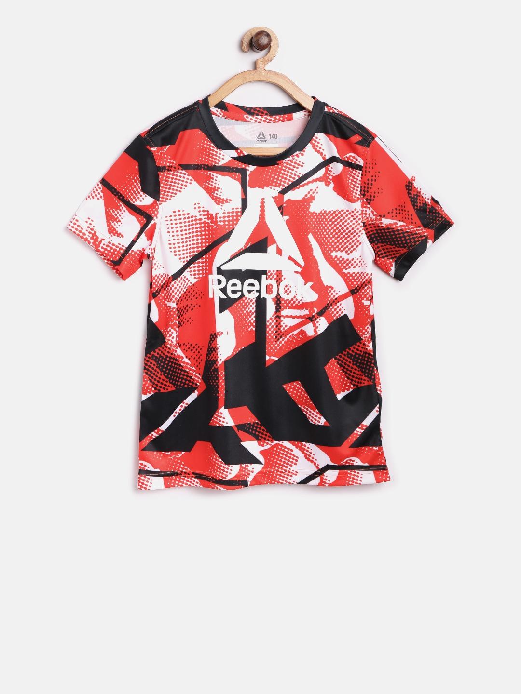 bf254631ca5b Buy Reebok Boys Orange   Black WOR AOP Printed Round Neck T Shirt ...