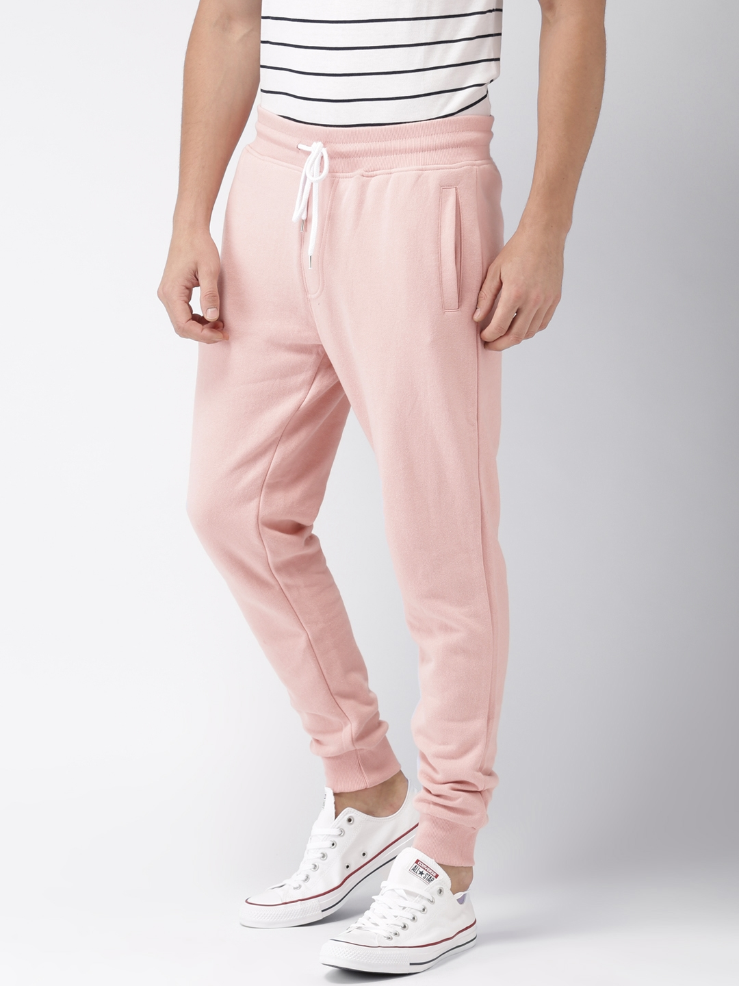 be2dd10f03e181 Buy FOREVER 21 Men Pink Regular Fit Solid Joggers - Trousers for Men ...