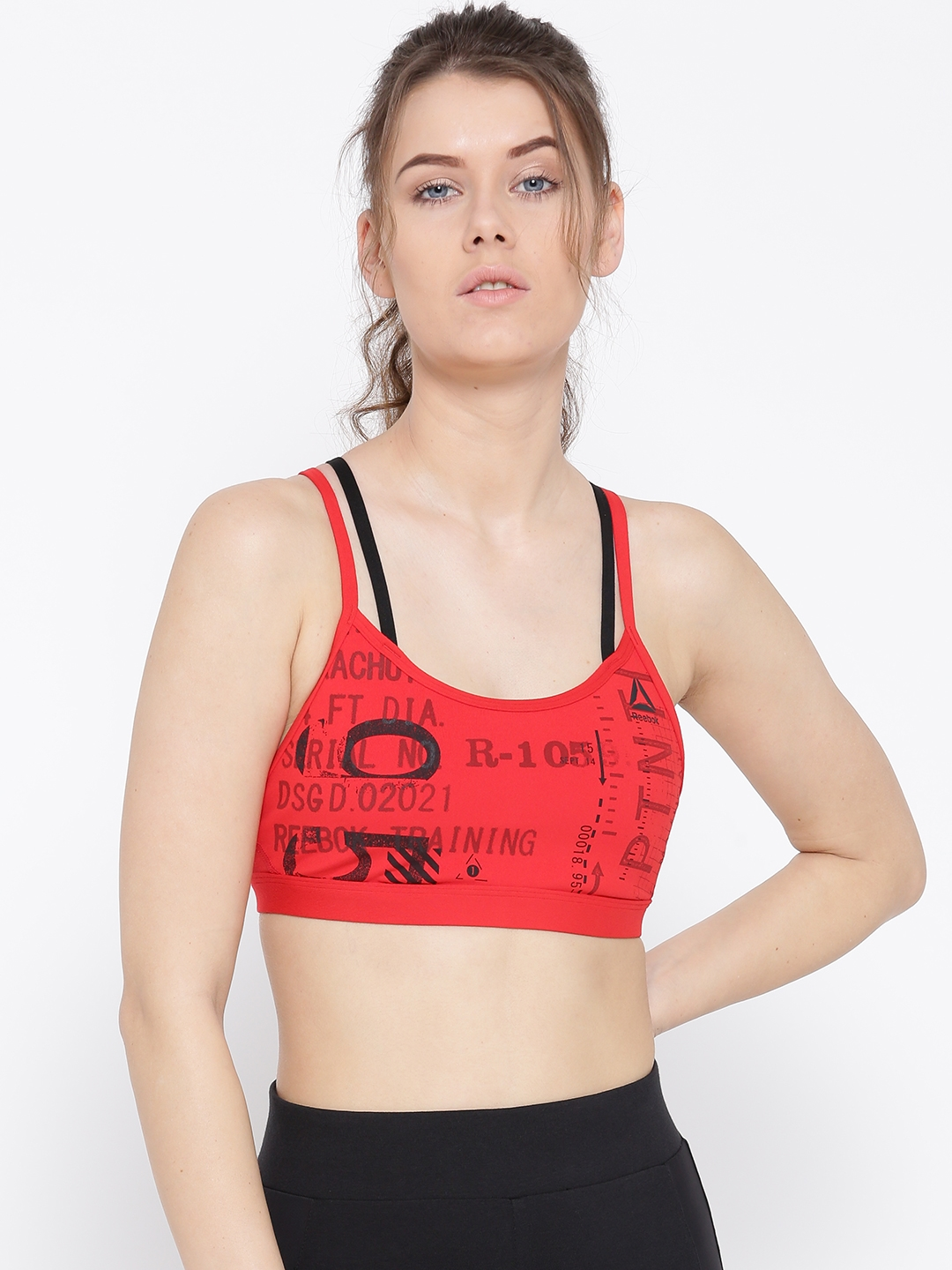 e0ee55344c Buy Reebok Red Hero Strappy Graphic Print Sports Bra CF3427 - Bra ...