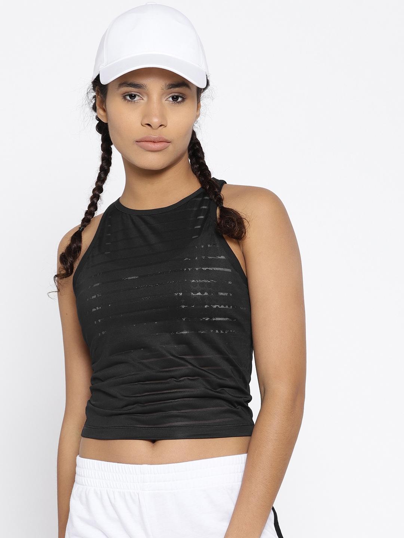832ad2d6683e05 Buy Reebok Women Black Mesh Self Striped Dance Crop Tank Top - Tops ...