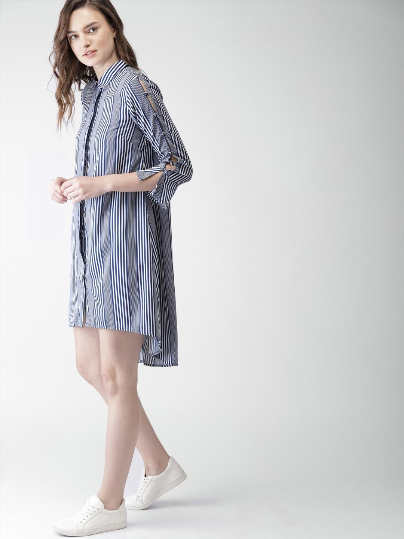 102d5ad215a4 Buy Mast & Harbour Women Navy Blue & White Striped Shirt Dress ...