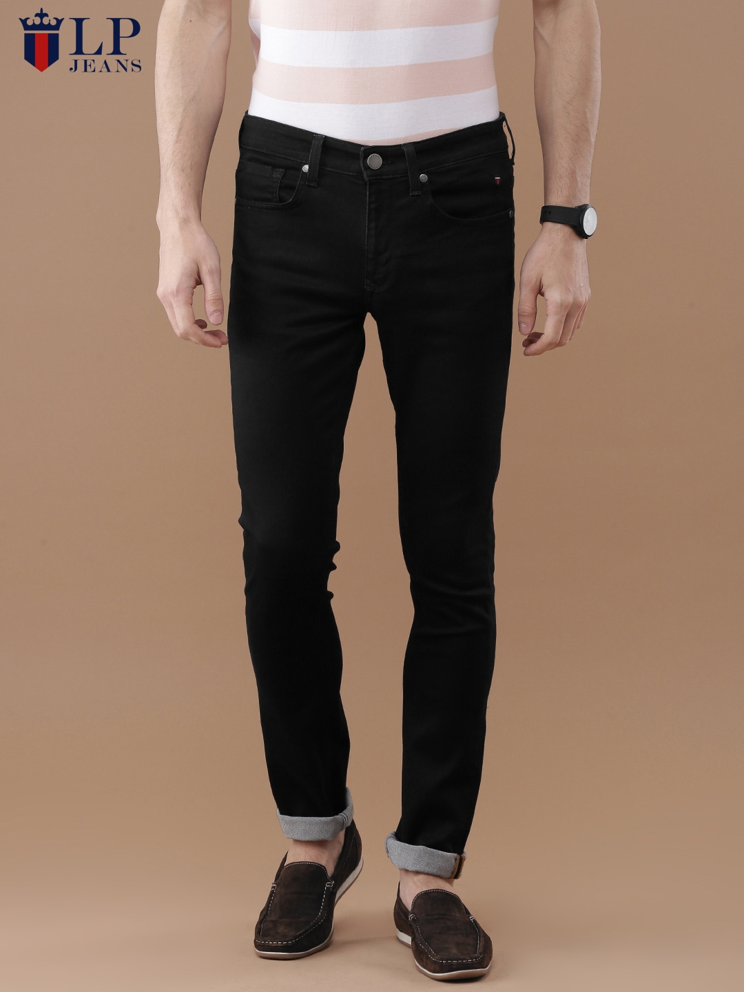 f8ebfbe9c75 Louis Philippe Jeans Men Black Slim Fit Low-Rise Clean Look Stretchable  Jeans