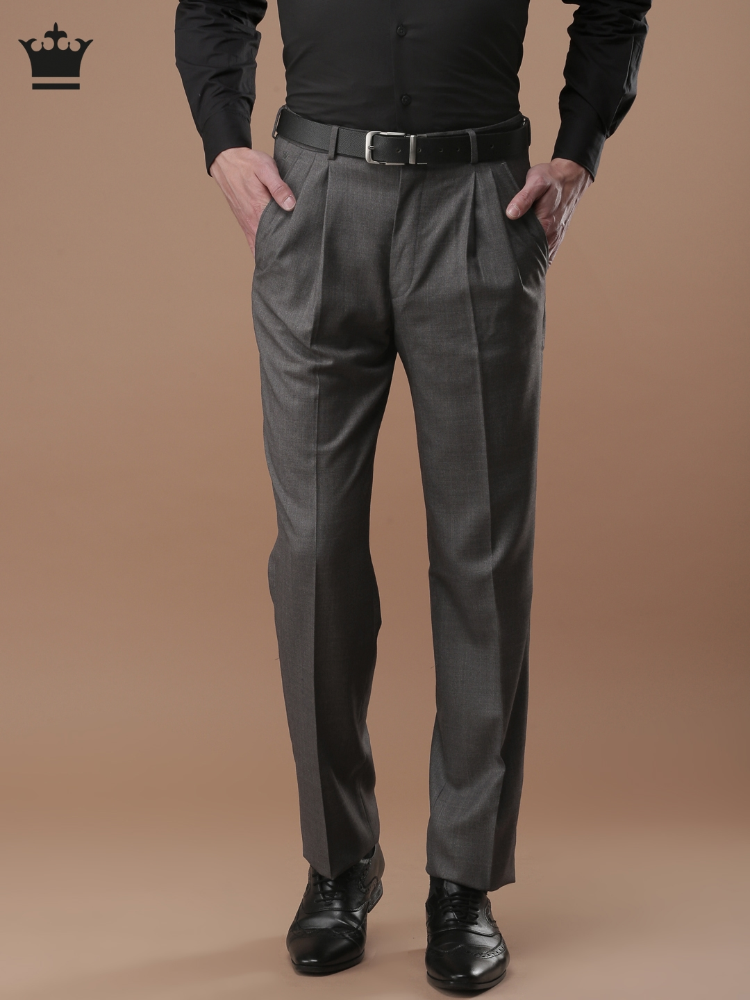 bf62f746208 Louis Philippe Men Grey Classic Regular Fit Solid Formal Trousers