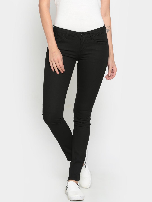 47c8edf55bdae Buy Wrangler Women Black Skinny Fit Low Rise Clean Look Stretchable ...
