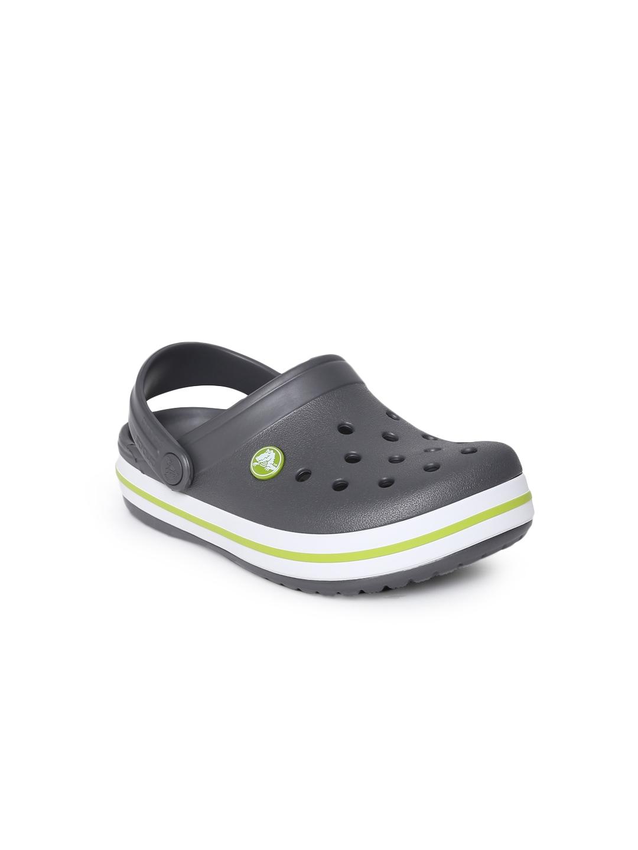 7f45e3b082eae7 Buy Crocs Unisex Charcoal Grey Solid Crocband Clogs - Flip Flops for ...