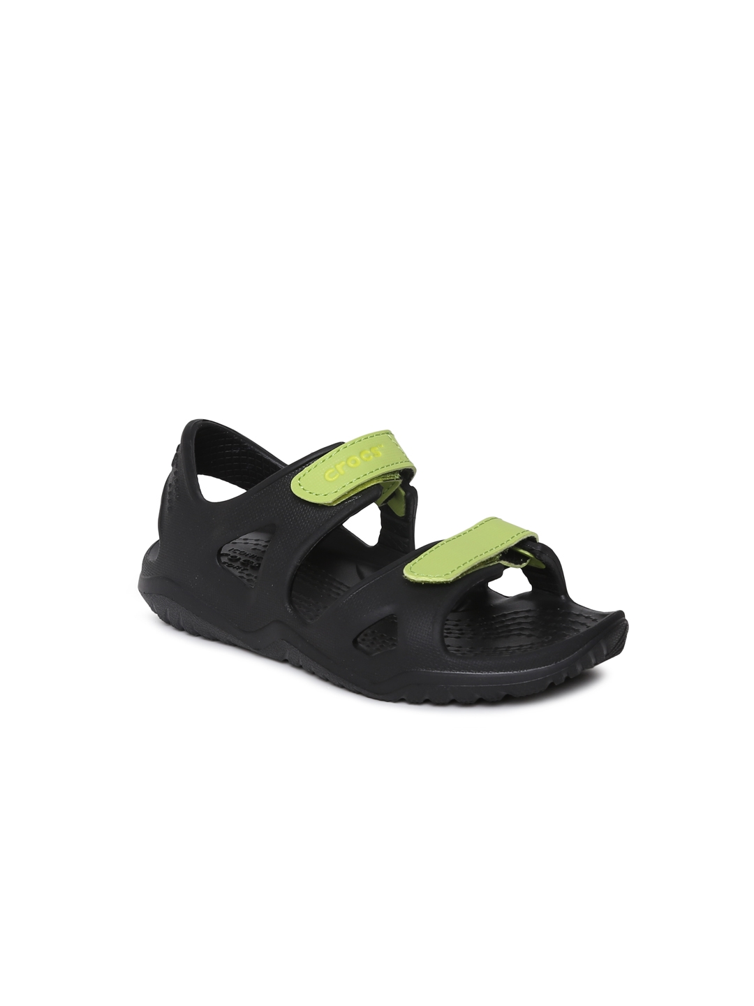 ab46da909fa5 Buy Crocs Kids Black   Green Comfort Sandals - Sandals for Unisex ...