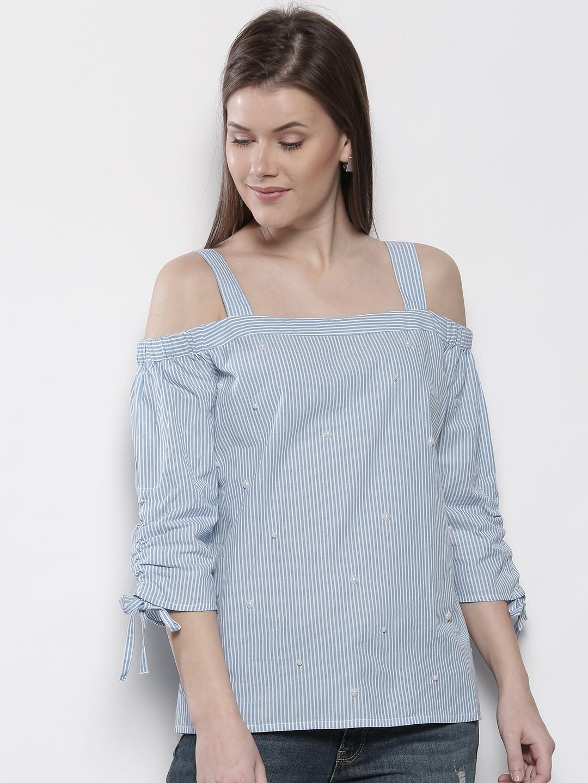 ae5482d3228ce8 Buy DOROTHY PERKINS Women Blue   White Striped Beaded Bardot Top ...