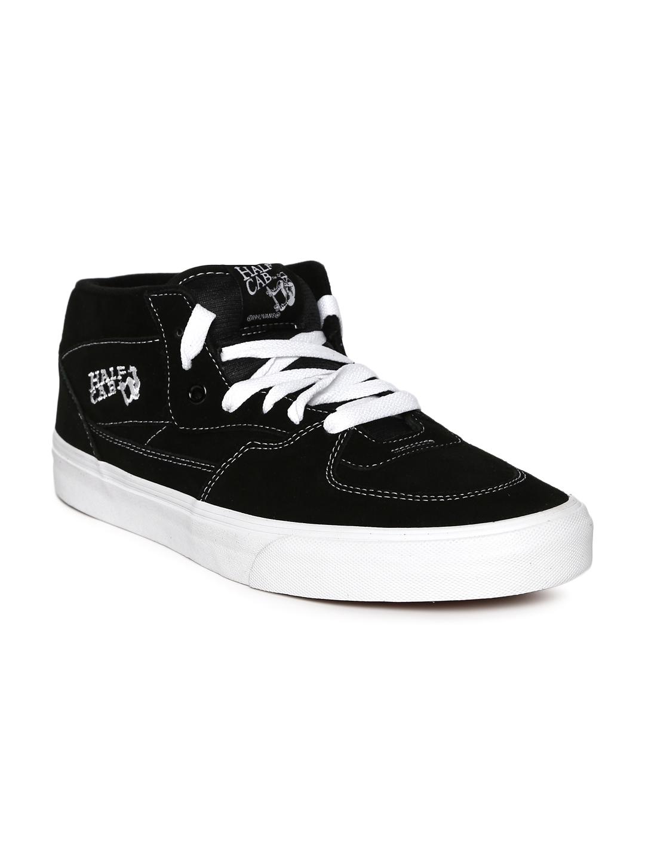 b9f47c4d47 Buy Vans Unisex Black Solid Synthetic Half Cab Mid Top Sneakers ...