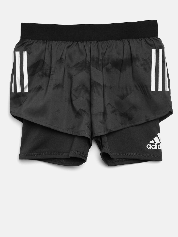 Buy Adidas Girls Black Printed Running Shorts - Shorts for Girls ... a67cd9fa52
