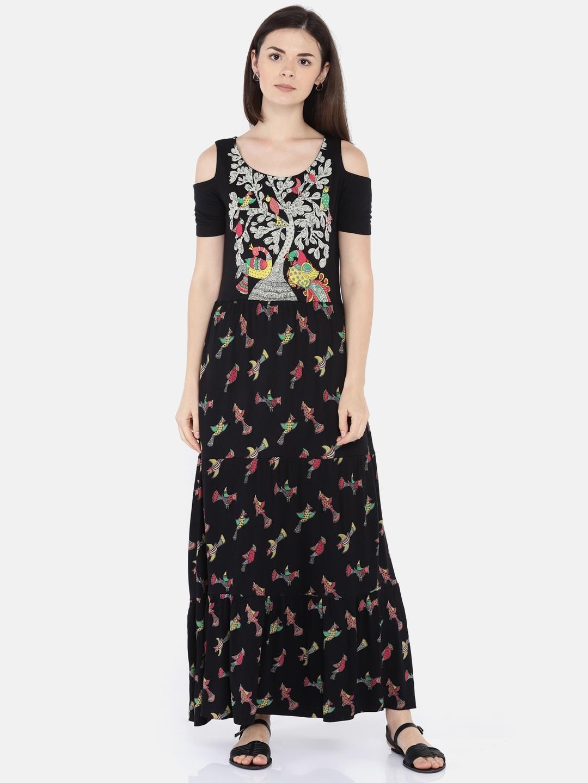 Buy Colour Me By Melange Women Black Printed Maxi Dress Dresses