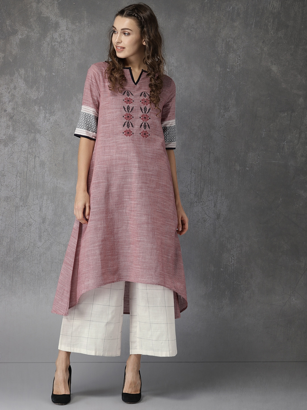 2fc7538b643539 Buy Anouk Women Red Embroidered Kurta With Off White Palazzo Pants ...