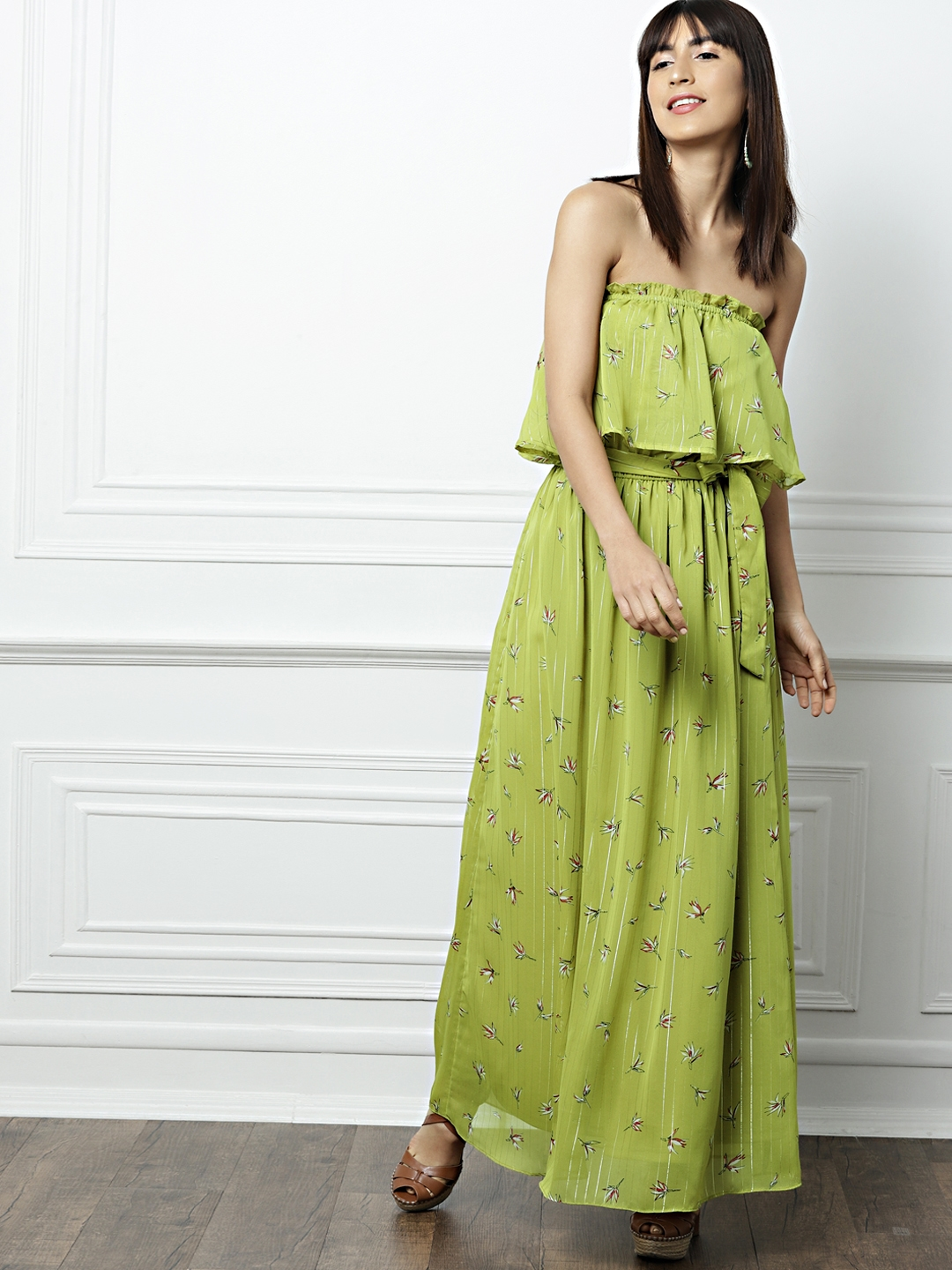 42805956c655 Buy All About You Women Green Printed Off Shoulder Maxi Dress ...