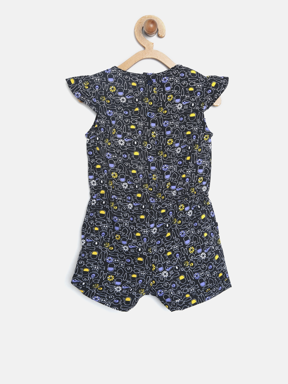 d6d44409412 Buy Nauti Nati Girls Navy Blue   Yellow Printed Playsuit - Jumpsuit ...