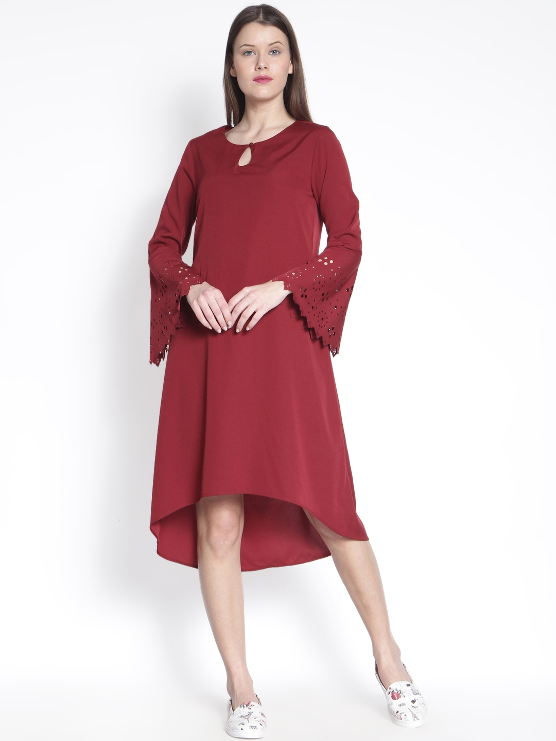 9bf3908d8f60 Buy RARE ROOTS Women Maroon Solid A Line Dress - Dresses for Women ...