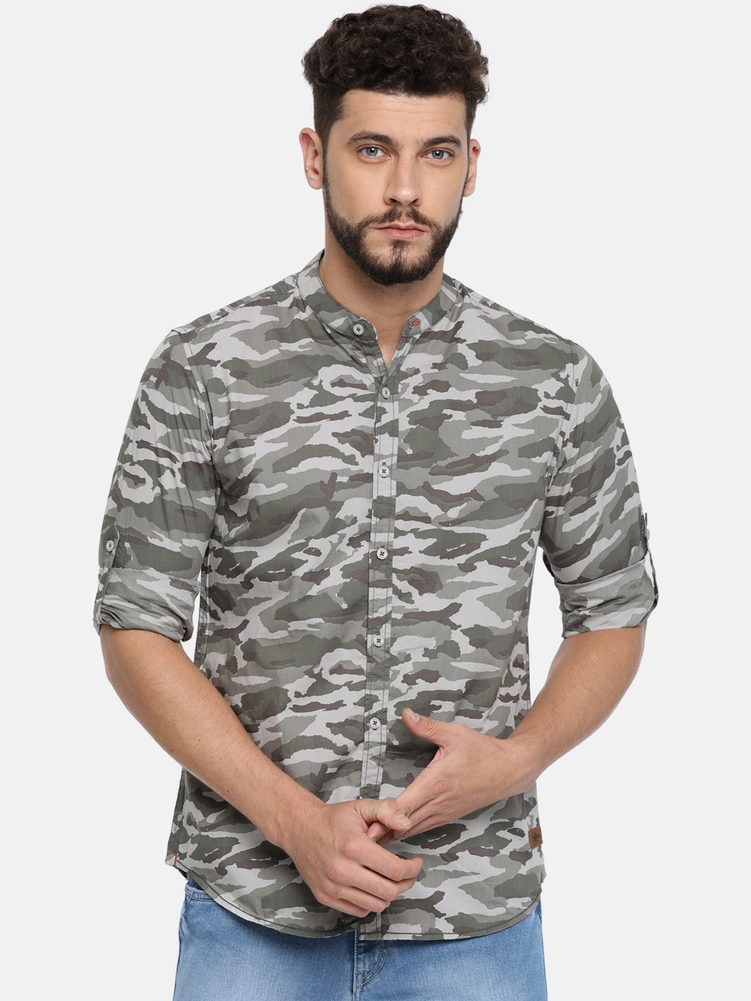 4fd95093a Roadster Men Olive Green & Grey Regular Fit Camouflage Print Casual Shirt