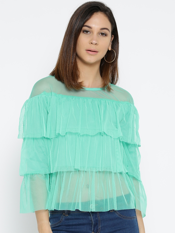 bbb7bed71a0 Buy U&F Women Sea Green Solid Net Tiered Top - Tops for Women ...