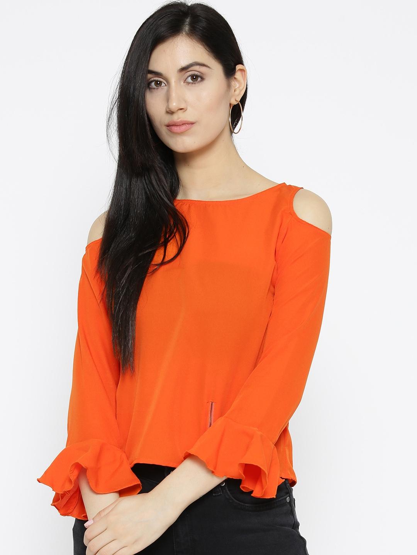 0b8a558b479 Buy U&F Women Orange Solid Cold Shoulder Top - Tops for Women ...